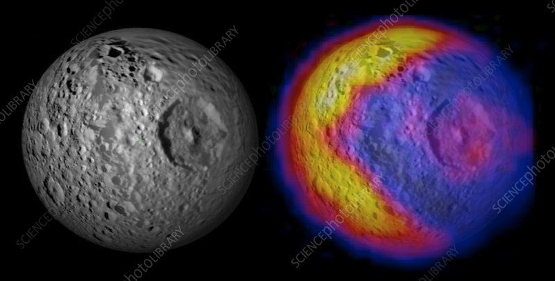 Mimas temperatures, Cassini images