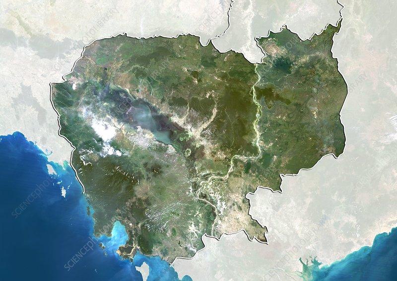 Cambodia, satellite image