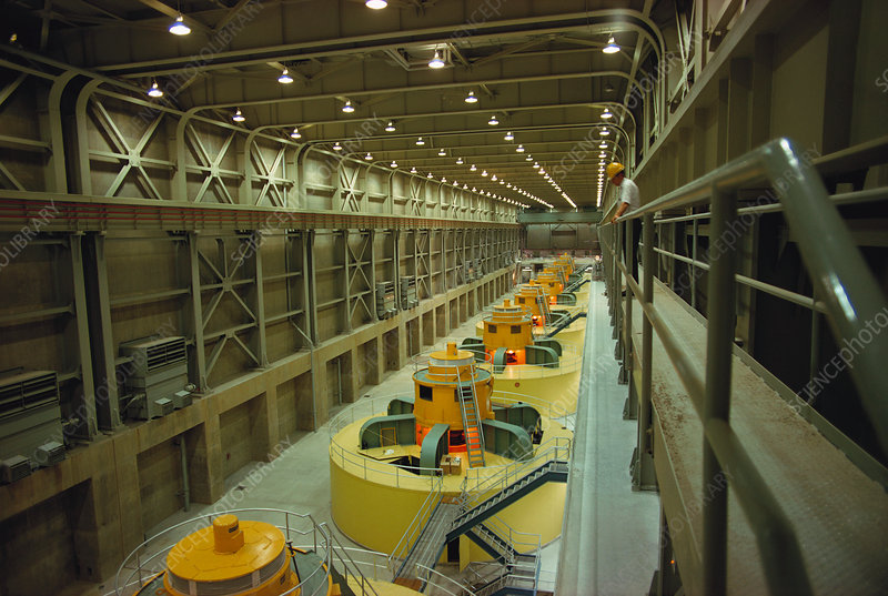 Turbine room of hydropower plant