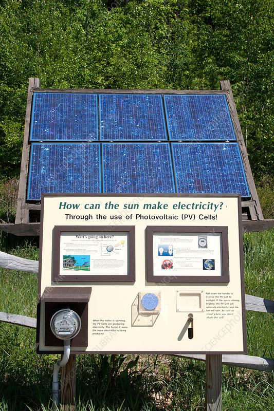 Photovoltaic Cell with Educational Sign