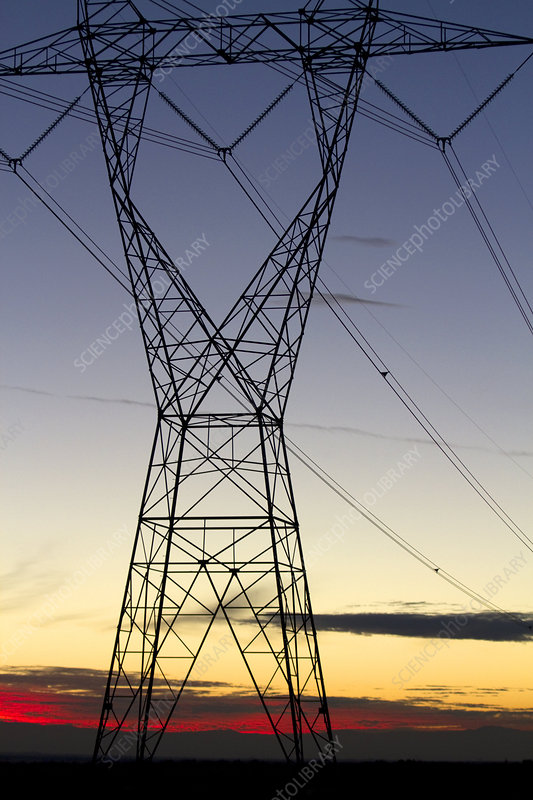 Electric Transmission Tower and Sunset