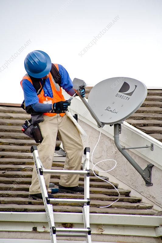 Satellite Dish Installation Stock Image C012 3085 Science Photo Library