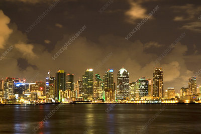 San Diego Skyline at Night, USA