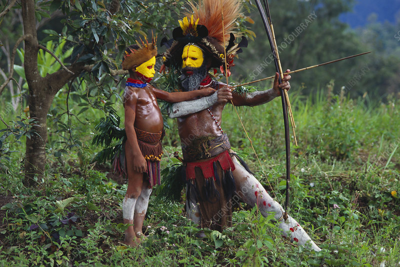 Huli Father and Son, Papua New Guinea