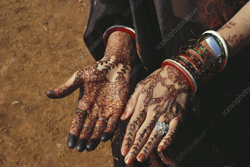 Henna Designs on Bride's Hands, India