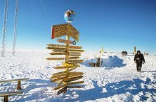 Signpost in the Antarctic