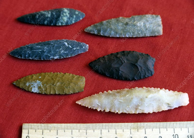 Ancient stone arrow heads, Russia