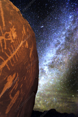 Petroglyph and Milky Way