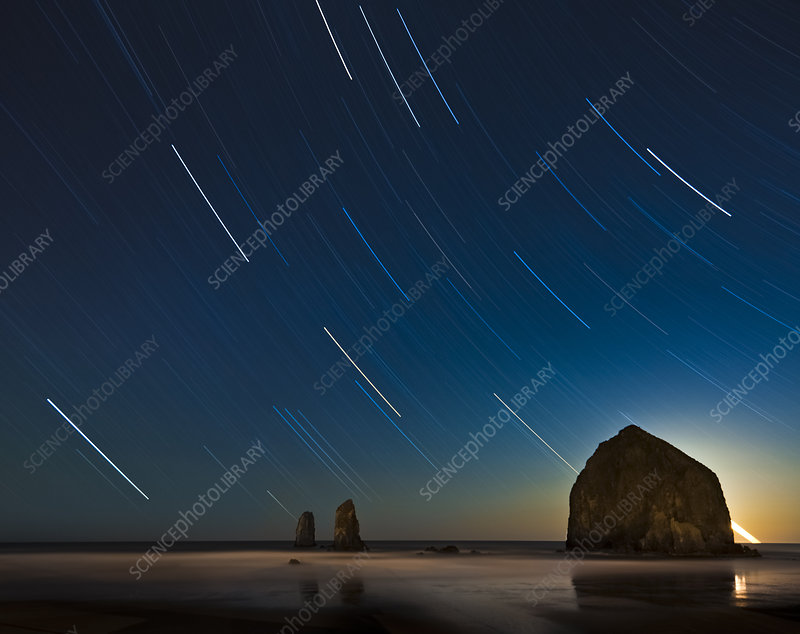 Haystack Rock and Star Trails