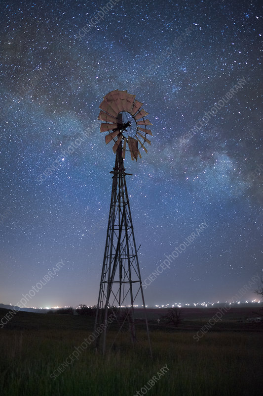 Windmill and Starry Sky