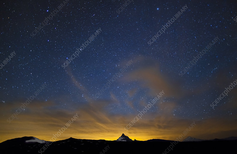 Starry Sky and Mountains, Oregon