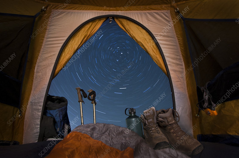Star Trails Seen From Tent