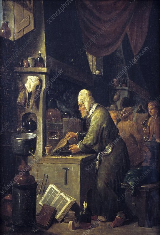 Alchemist at work, 17th century