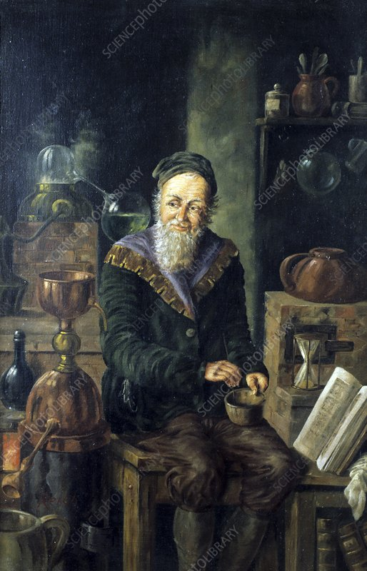 Alchemist at work, 19th-20th century