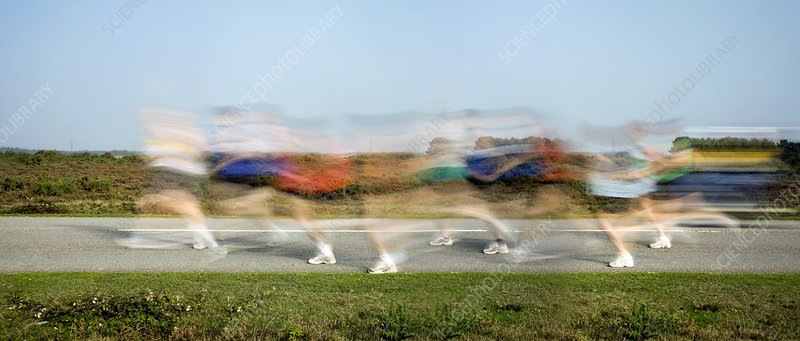 People running, time-exposure image