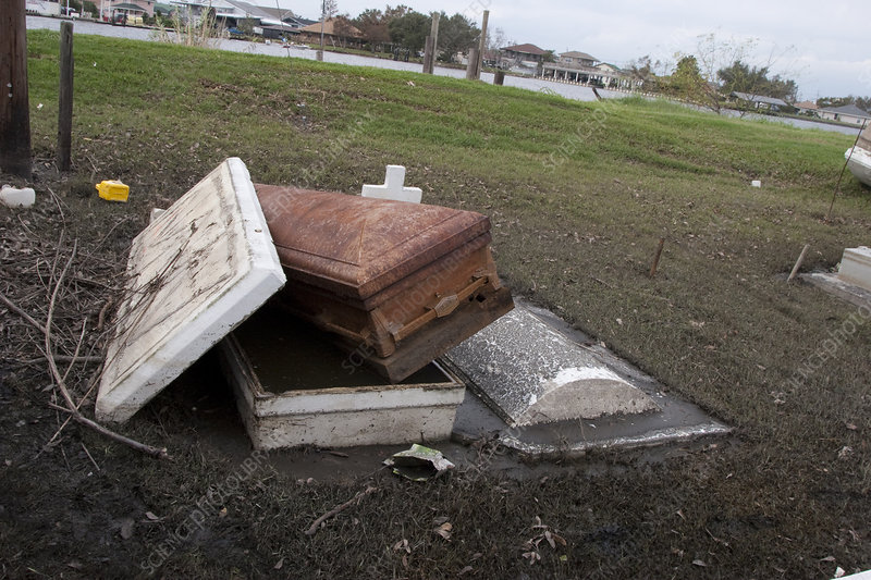 caskets emerge from flooding stock image c013 0059 science photo