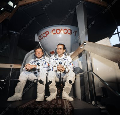 French cosmonauts Chretien and Baudry