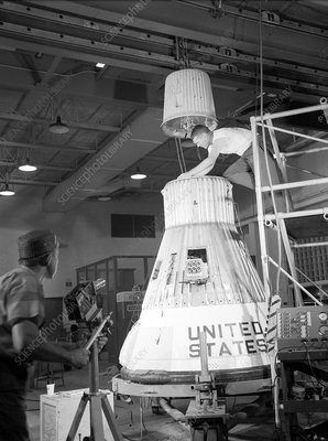 Assembling a Little Joe capsule, 1959