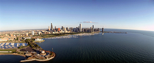 Chicago harbor and Lake Michigan skyline