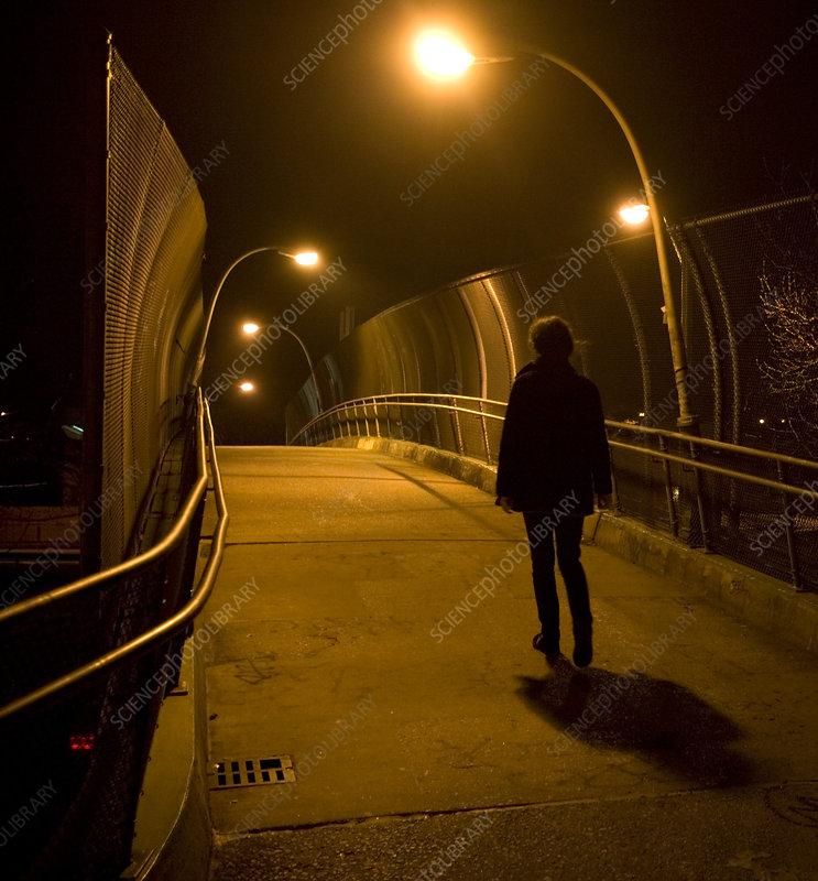 Pedestrian At Night Stock Image C013 0645 Science