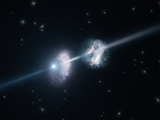 Gamma-ray burst and galaxies, artwork