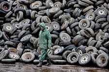 Tyres at a car recycling plant, Russia