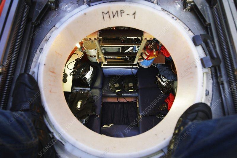 Interior of Mir-1 submersible