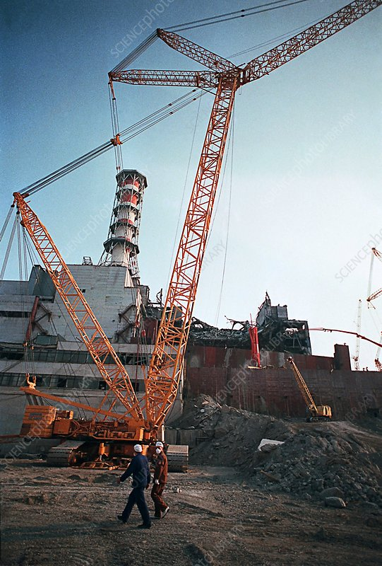Chernobyl reactor after meltdown, 1986
