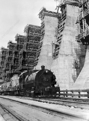Dnieper dam construction, 1932