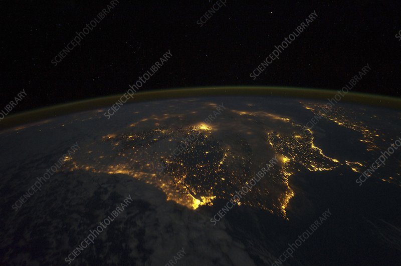Spain and Portugal, ISS image at night