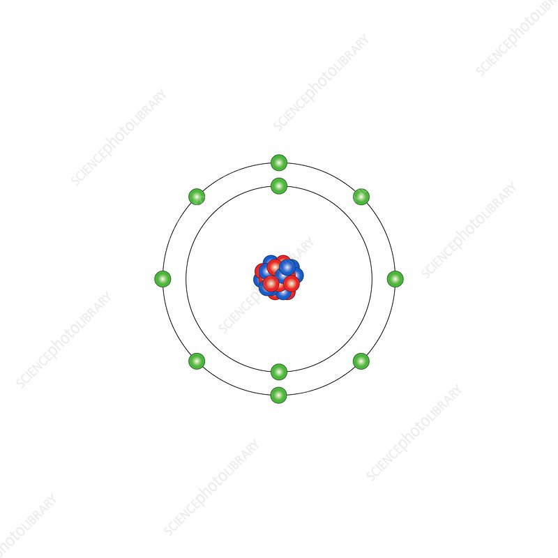 Neon, atomic structure - Stock Image - C013/1512 - Science ... Diagram Of An Atom Neon