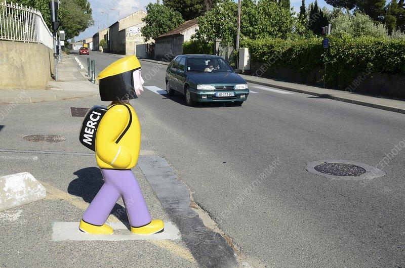 Pedestrian crossing near a school, France