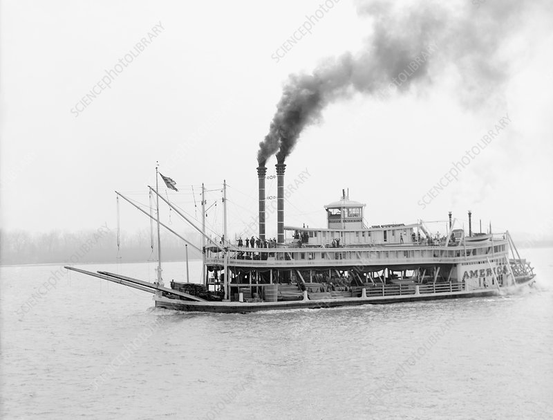 The America paddle steamer, 1900s