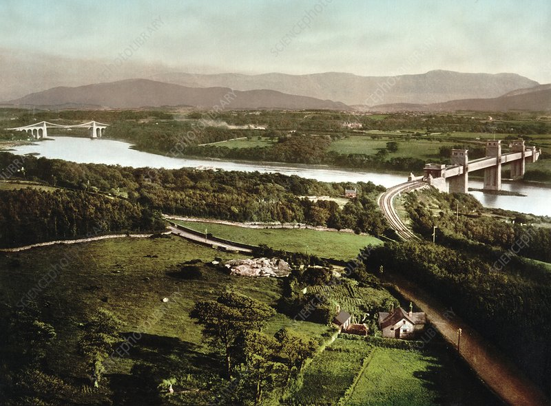 Menai Strait and its bridges, 1890s
