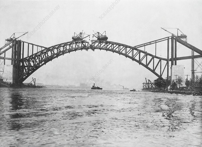 Hell Gate Bridge construction, 1915