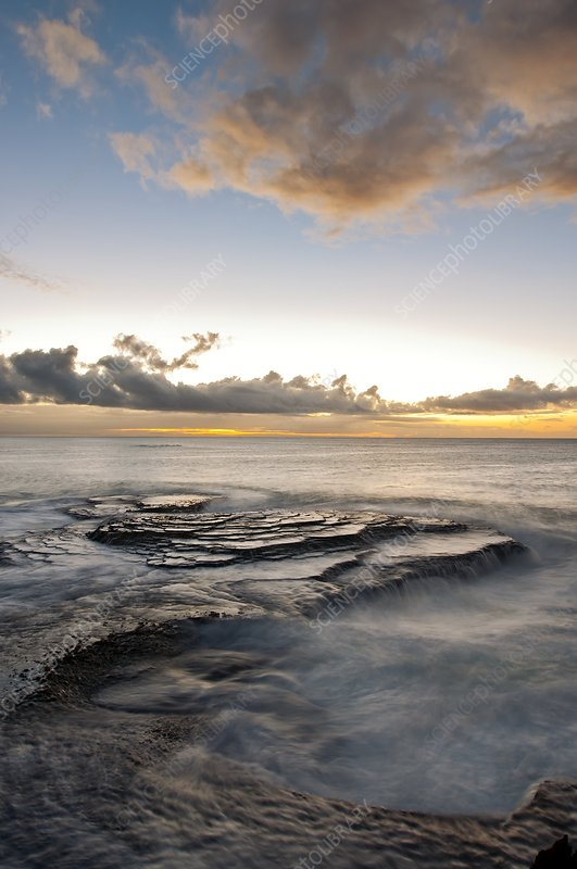 Inter-tidal sandstone platforms at dawn