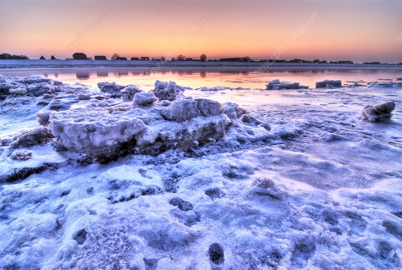 Ice on the Elbe river, Germany