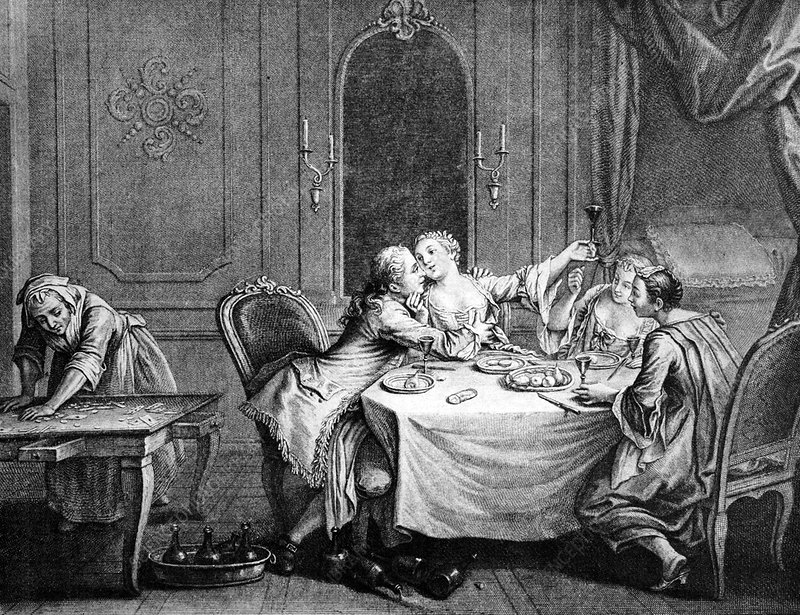French society 18th century stock image c013 2566 for 18th century french cuisine