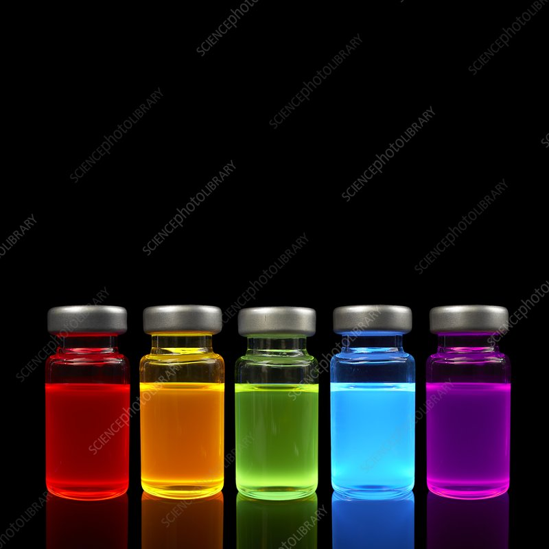 Quantum dot samples under UV light