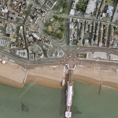 Brighton pier and seafront, aerial view