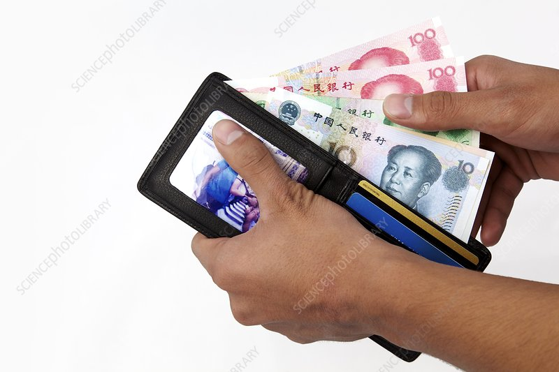 Chinese banknotes with wallet