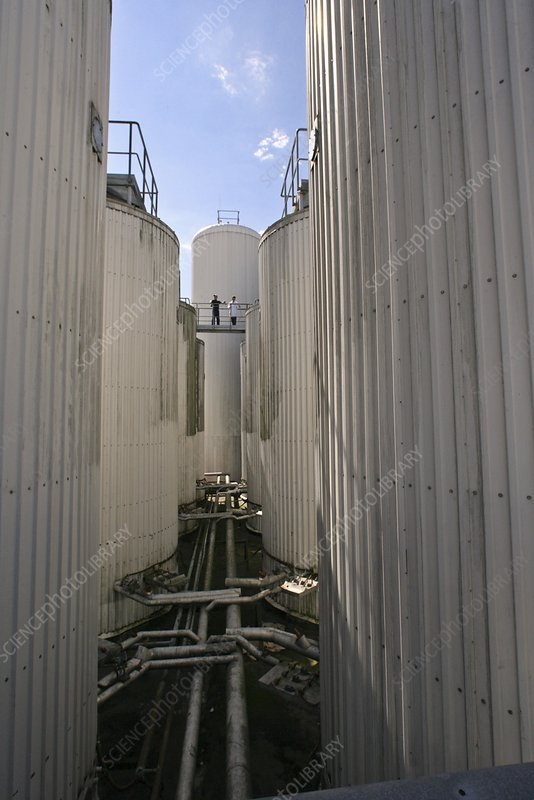 Storage tanks at a beer brewery