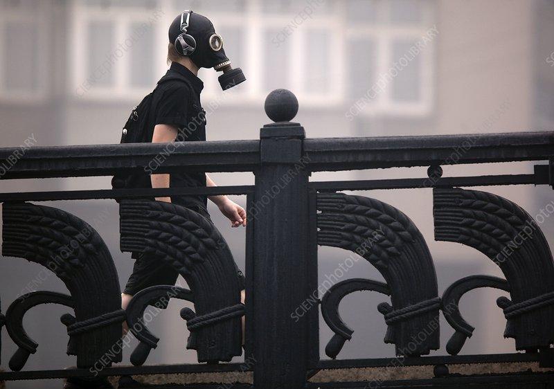 Man wearing gas mask in Moscow
