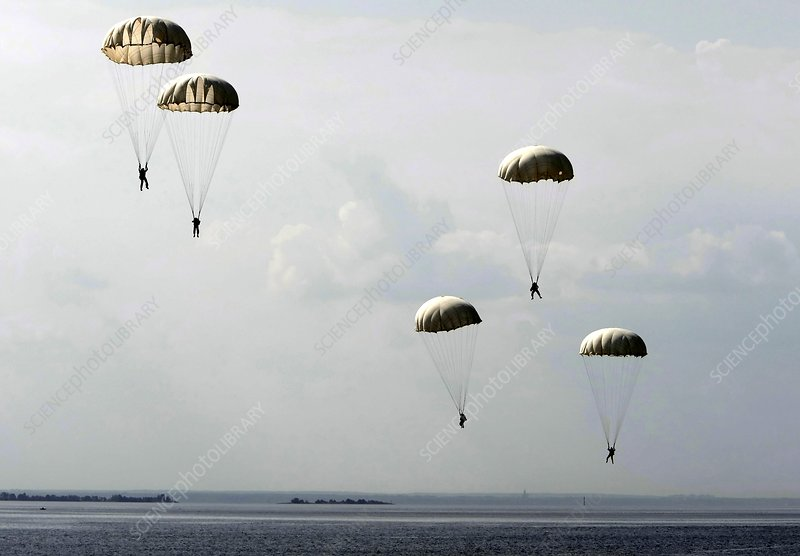Parachutists dropping into water