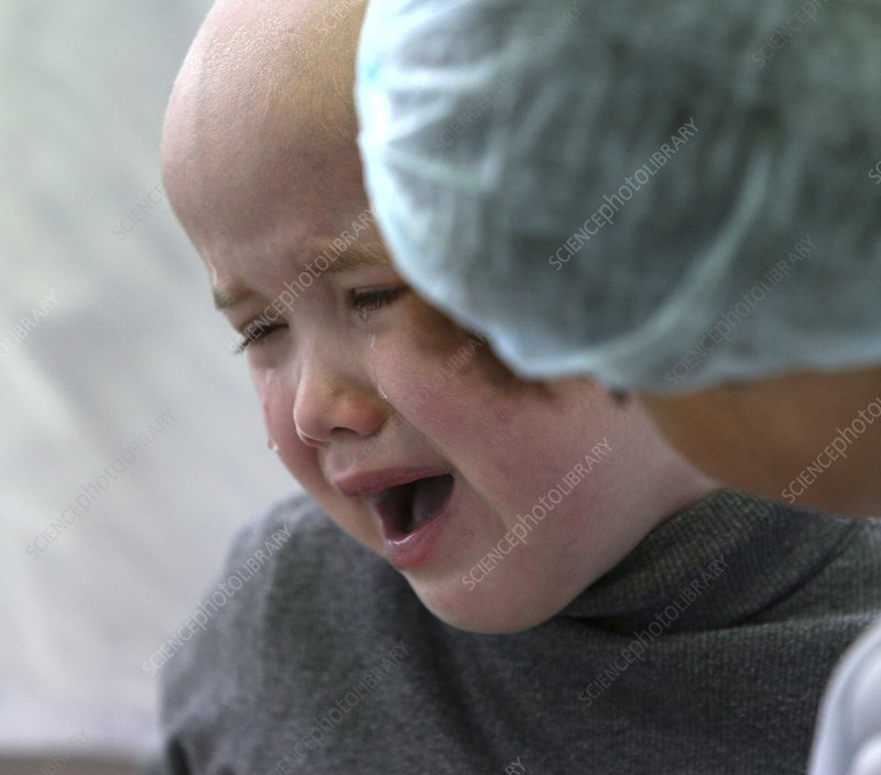 Child cancer patient crying