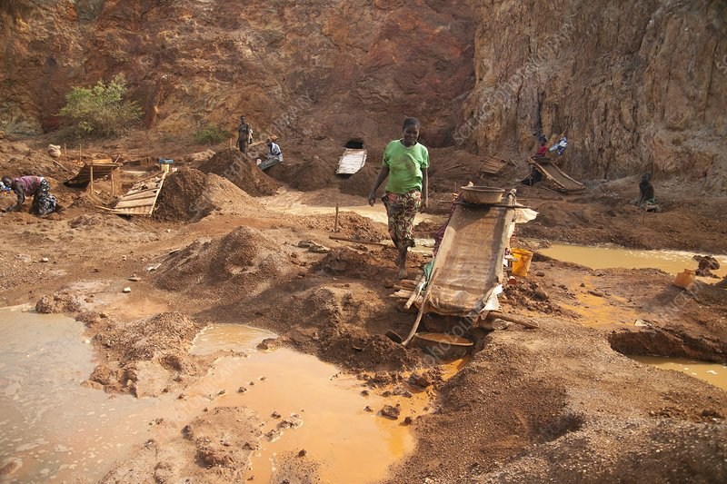 Artisan miners panning for gold, Kenya