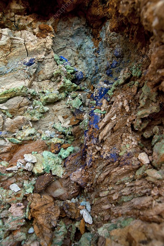 Azurite and malachite deposits