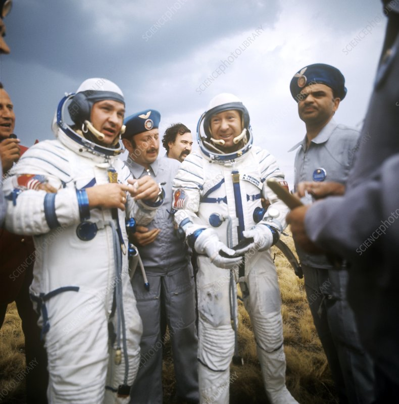 Soyuz-19 crew after landing