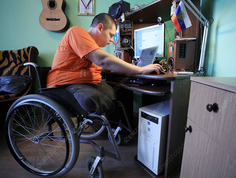 Disabled soldier at home