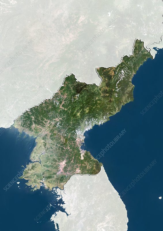 North Korea, satellite image